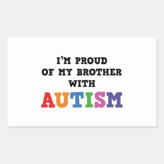 Soy orgulloso de mi Brother con autismo Pegatina Rectangular