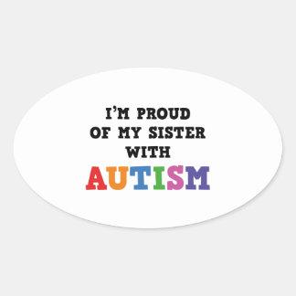 Soy orgulloso de mi hermana con autismo pegatina ovalada