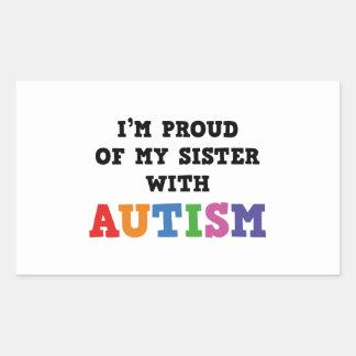 Soy orgulloso de mi hermana con autismo pegatina rectangular