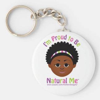 ¡Soy orgulloso ser natural yo! Llavero Redondo Tipo Pin