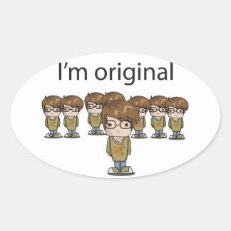 Soy original pegatina ovalada