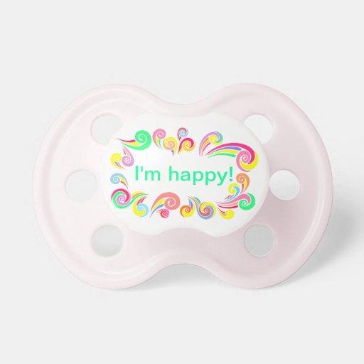 Soy pacificador feliz con remolinos y arco iris chupete de bebé