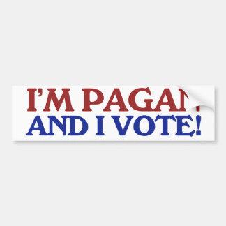 Soy pagano y voto etiqueta de parachoque