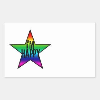 Soy pegatina gay feliz del arco iris de la