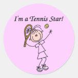 Soy pegatinas de una estrella de tenis etiquetas redondas