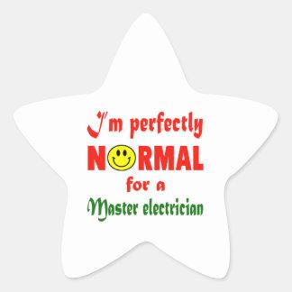 Soy perfectamente normal para un electricista pegatina en forma de estrella