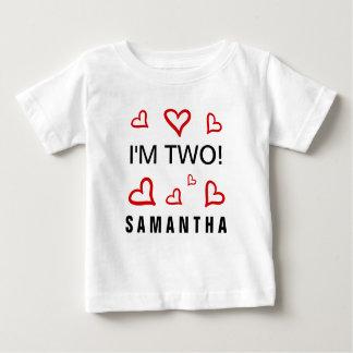 Soy personalizado rojo de dos corazones del Doodle T-shirt