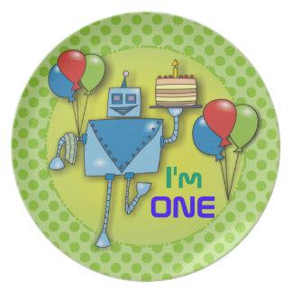 Soy placas de los lunares de UN 1ras de cumpleaños Plato