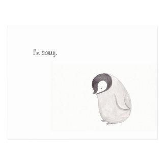 Soy postal linda triste del pingüino