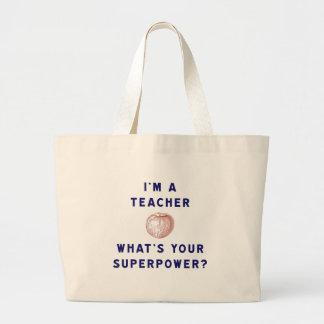 ¿Soy profesor [manzana] cuál es su superpotencia? Bolsa Tela Grande