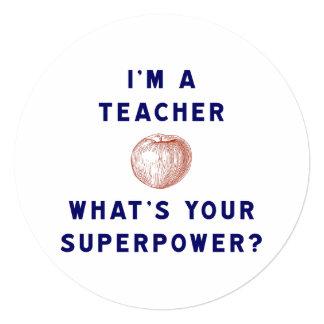 """¿Soy profesor [manzana] cuál es su superpotencia? Invitación 5.25"""" X 5.25"""""""