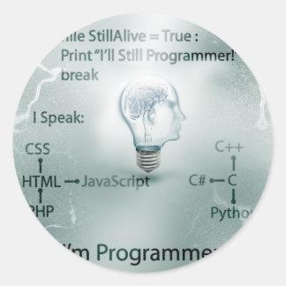 Soy programador pegatina redonda