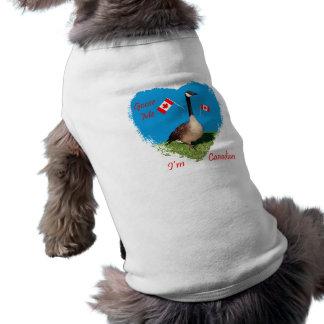 Soy ropa canadiense del mascota playera sin mangas para perro