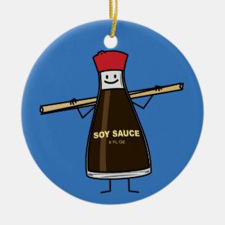 Soy Sauce Bottle condiment Asian chopsticks Ceramic Ornament
