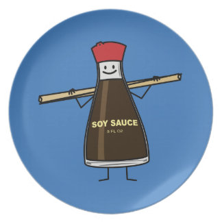 Soy Sauce Bottle condiment Asian chopsticks Melamine Plate