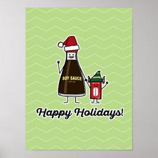Soy Sauce Bottle Packet kid child Christmas Santa Poster