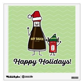 Soy Sauce Bottle Packet kid child Christmas Santa Wall Sticker