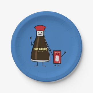 Soy Sauce Bottle Packet kid child condiment Asian Paper Plate
