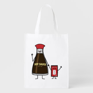 Soy Sauce Bottle Packet kid child condiment Asian Reusable Grocery Bag