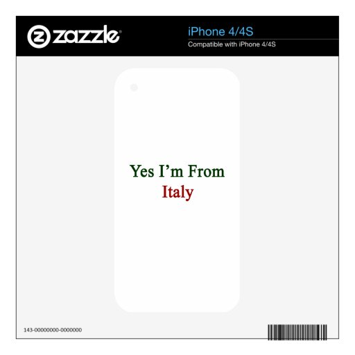 Soy sí de Italia Skins Para iPhone 4S