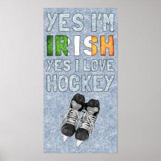 Soy sí irlandés, yo amo sí hockey póster