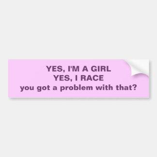 Soy sí un chica que compito con sí…. pegatina para auto