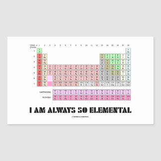 Soy siempre elementos de tabla periódica tan pegatina rectangular