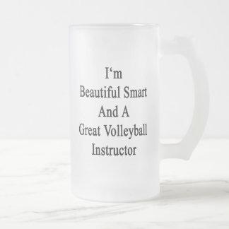 Soy Smart hermoso y un gran voleibol Instruc Taza Cristal Mate
