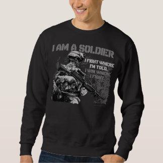 Soy soldado en la camiseta negra de los hombres suéter