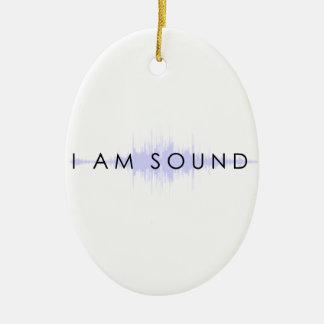 Soy sonido adorno navideño ovalado de cerámica