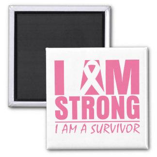 Soy - soy un superviviente - cáncer de pecho imán cuadrado