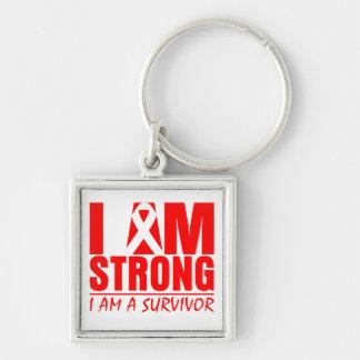 Soy - soy un superviviente - cáncer de sangre fuer llavero cuadrado plateado