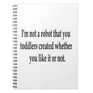 Soy su robot libro de apuntes con espiral