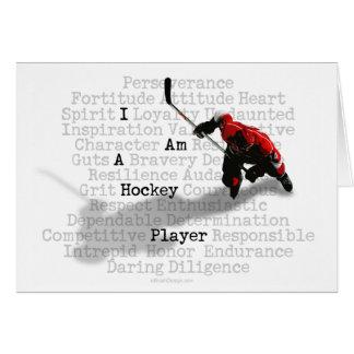 Soy tarjetas de hockey del jugador de un saludo y