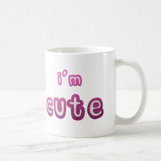 Soy taza de café clásica de la declaración linda