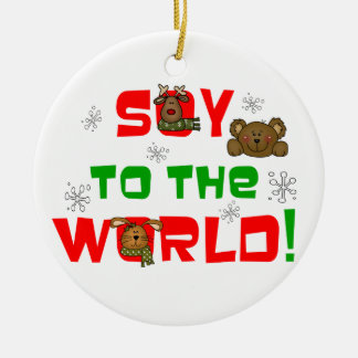 Soy to the World Double-Sided Ceramic Round Christmas Ornament