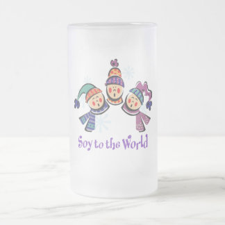 Soy to the World Holiday Frosted Glass Beer Mug