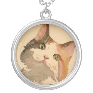 Soy todos los oídos: Retrato del gato de calicó Collares Personalizados