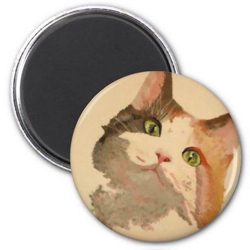Soy todos los oídos: Retrato del gato de calicó Imán Redondo 5 Cm