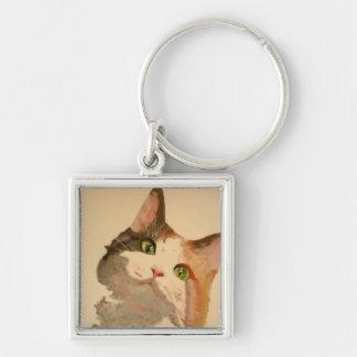 Soy todos los oídos: Retrato del gato de calicó Llavero Cuadrado Plateado