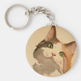 Soy todos los oídos: Retrato del gato de calicó Llavero Redondo Tipo Pin