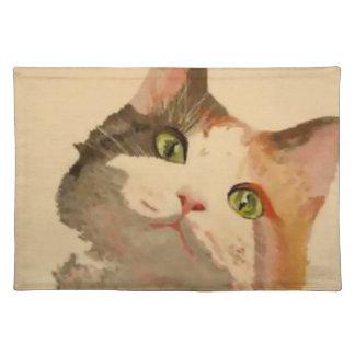 Soy todos los oídos: Retrato del gato de calicó Manteles