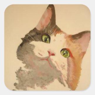 Soy todos los oídos: Retrato del gato de calicó Pegatina Cuadrada