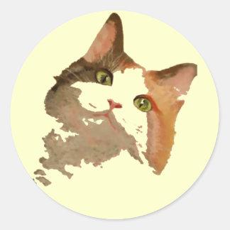 Soy todos los oídos: Retrato del gato de calicó Pegatina Redonda