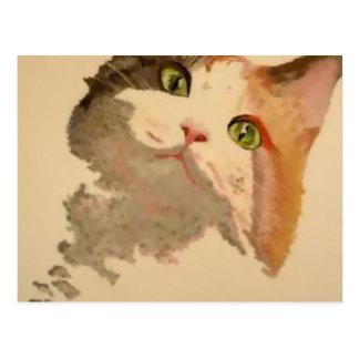 Soy todos los oídos: Retrato del gato de calicó Postales