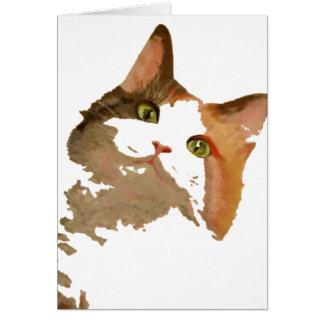 Soy todos los oídos: Retrato del gato de calicó Felicitacion
