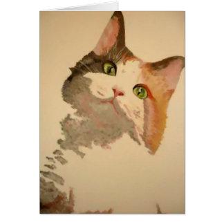 Soy todos los oídos: Retrato del gato de calicó Tarjeta De Felicitación