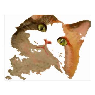 Soy todos los oídos: Retrato del gato de calicó Tarjetas Postales