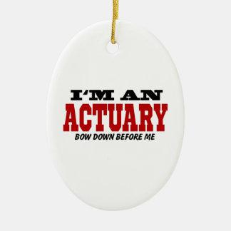 Soy un actuario arqueo abajo antes de mí adorno navideño ovalado de cerámica