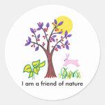 Soy un amigo de la pintura de la naturaleza y cita etiquetas redondas